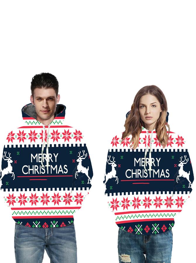 3D Printed Long Sleeves Couple Christmas Hooded Sweatshirts