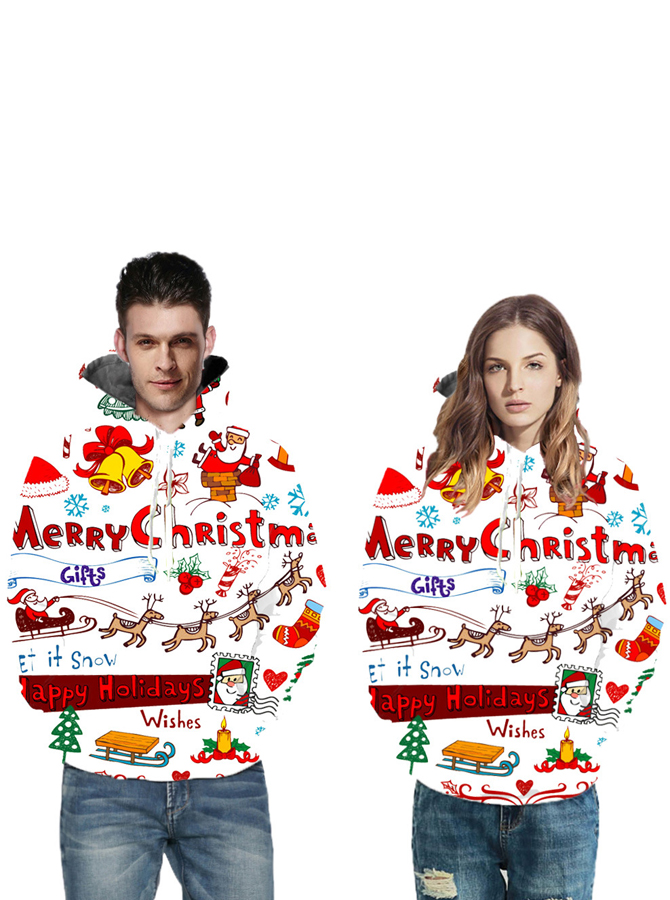 3D Printed Santa White Couple Christmas Hooded Sweatshirts фото