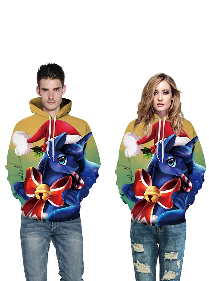 Multi Color Blue Horse Hooded Couple Christmas Sweatshirts