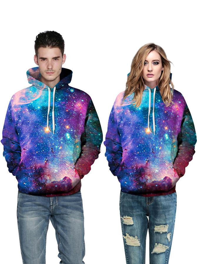 Multi Color 3D Printed Hooded Couple Christmas Sweatshirts фото