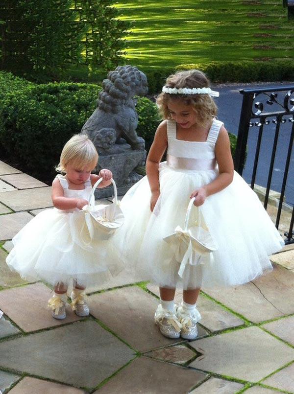 Modern Ball Gown Square Neck Sash Tulle Flower Girl Dress thumbnail