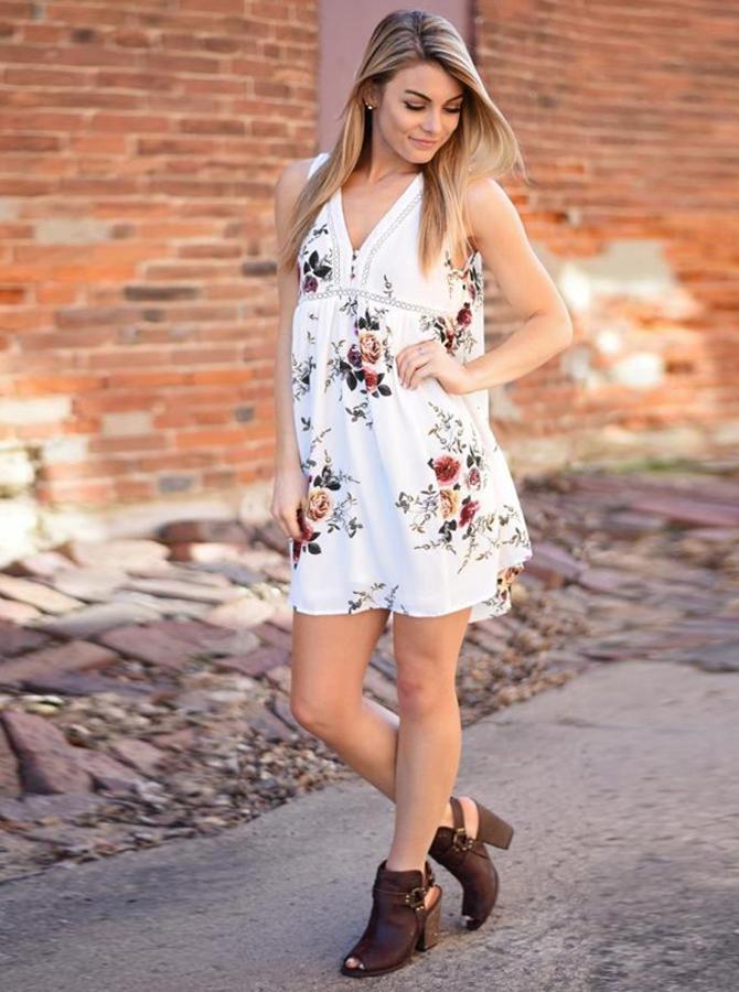V-Neck Sleeveless Short White Tunic Floral Printed Dress фото