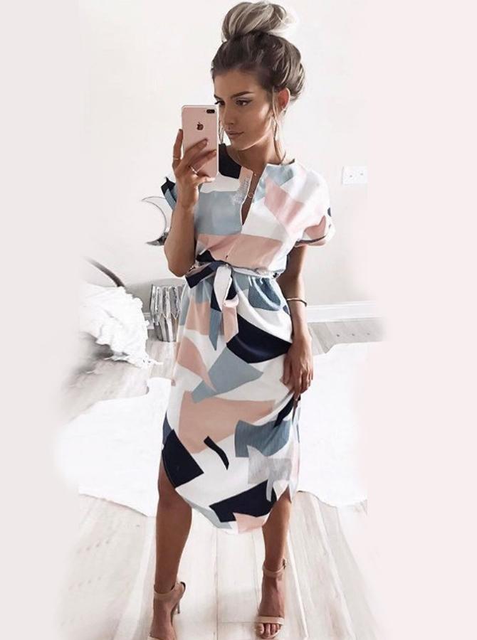 V-Neck Short Sleeves Multi Color Cotton Patchwork Printed Dress фото