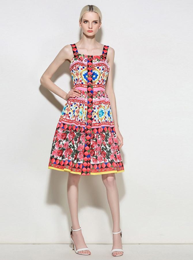 Ремни Высокой Талией Нижний Передний Красный Цветочный Печатных Платье