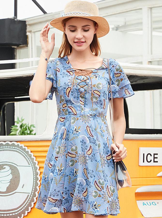 V-Neck Flare Sleeves High Waist Blue Floral Printed Dress фото