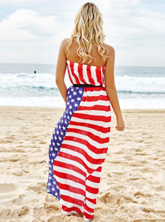Sash Strapless Star Striped Patriotic Maxi Dress фото