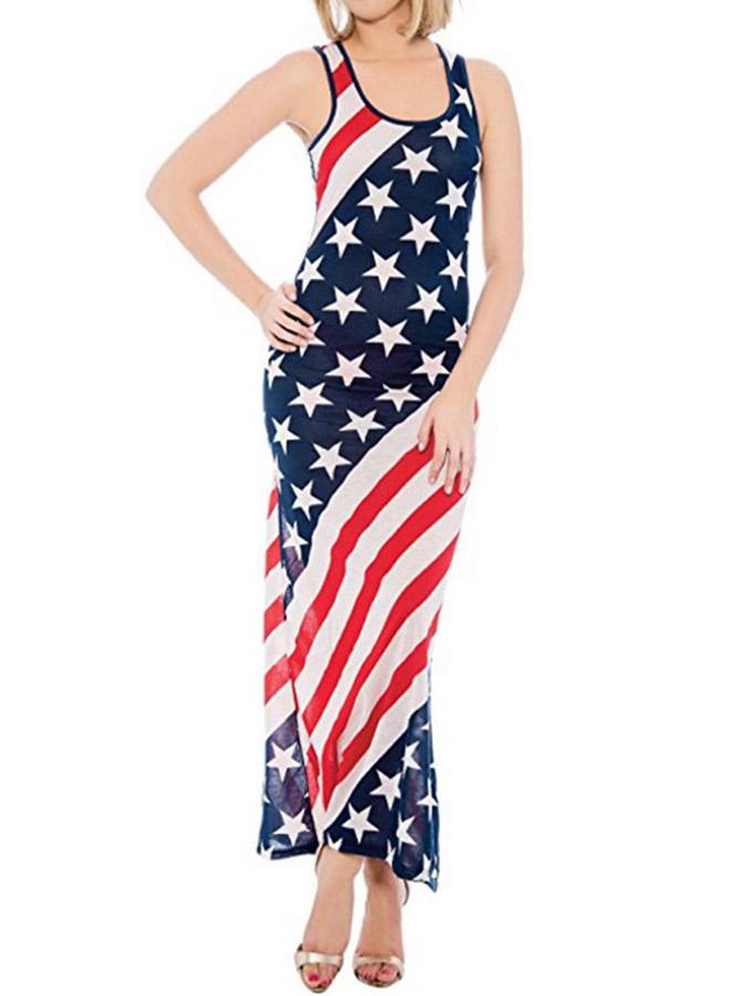 American Flag Print Patriotic Sheath Maxi Dress фото