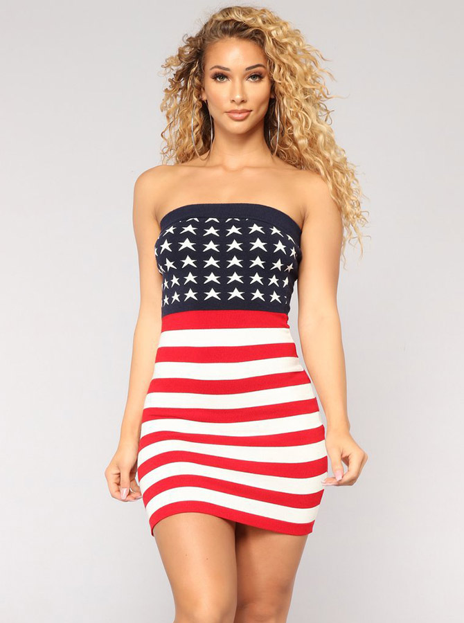 Star Striped Strapless July of 4th Patriotic Bodycon Summer Dress фото