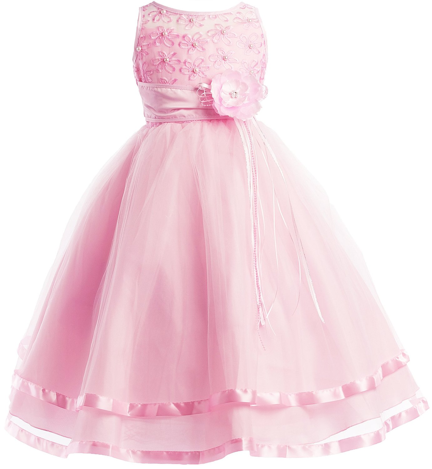 Communion Flower Girl Pageant Illusion Ribbon Tulle Dress FGD-81308 фото
