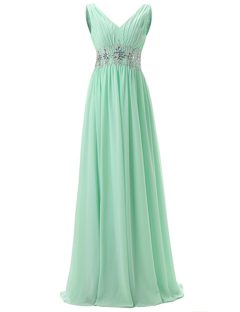 Elegant V-neck Beading Long Mint Prom Dress Formal Evening Gown