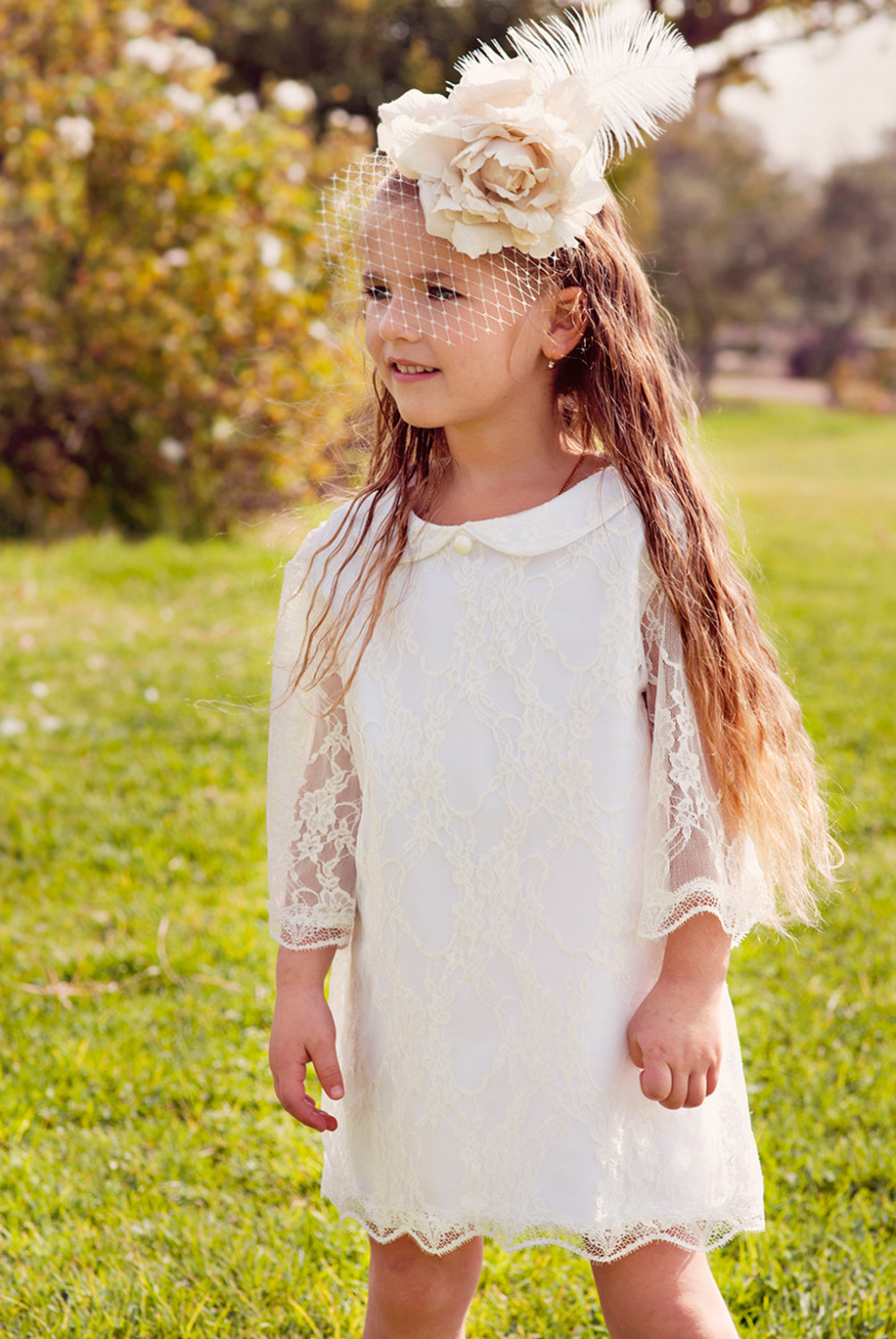 Latest A-Line Scoop Short Lace Flowergirl Dresses LAFGD-60449