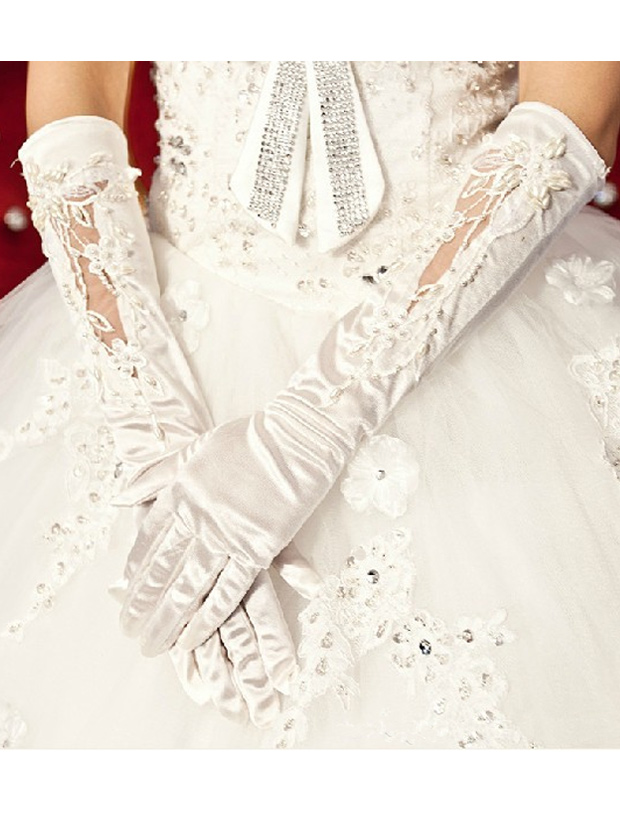Lace Satin Elbow Length Fingers Bridal Wedding Gloves thumbnail