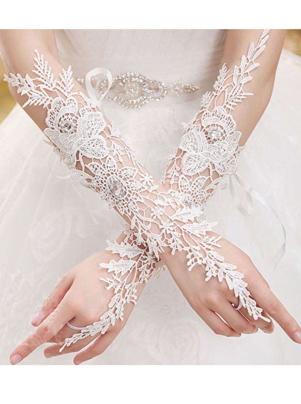 Lace Hollow Elbow Length Bridal Gloves With Rhinestones фото