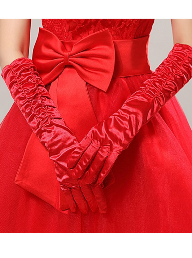 Red Elastic Satin Fingers Elbow Length Bridal Gloves фото
