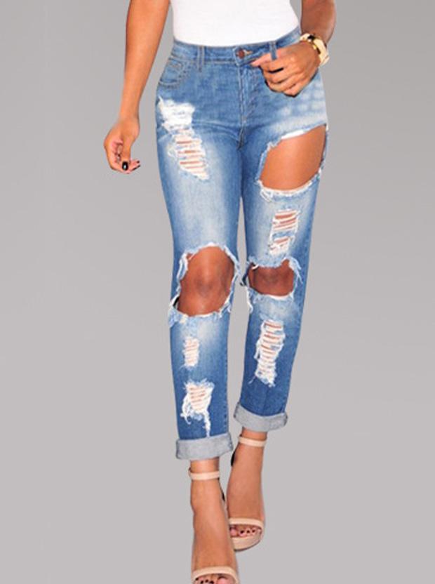 Elastic Skinny Ninth Pants With Big Holes, Blue