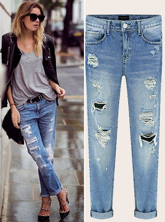 Thin Nature Waist Ripped Loose Jeans, Blue