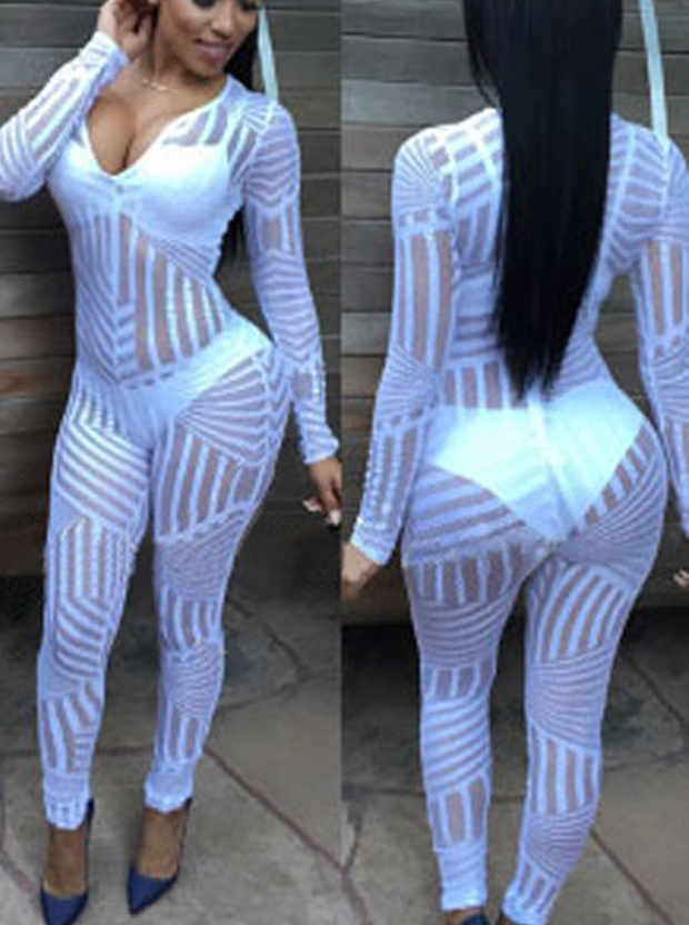 Sexy Hollow Long Sleeves White Women Tights Leggings thumbnail