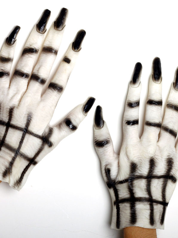 Halloween Masquerade Ornament Black Nail Ghost Gloves White фото