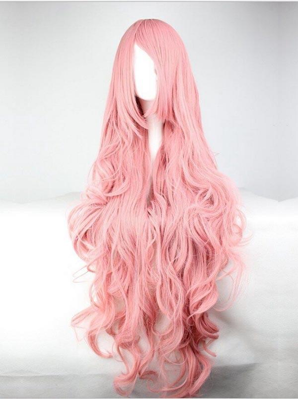 Fashion Anime pink wigs Volume silk long hair curly wave Cosplay Halloween фото