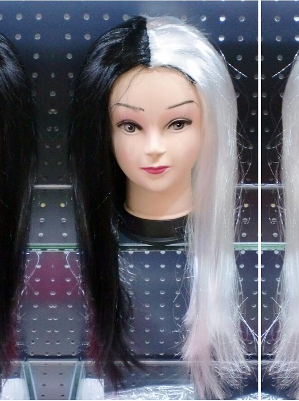 Hot-selling Black and White Straight Cosplay Wigs фото