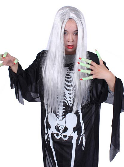 Long Straight Halloween Costume Cosplay Wig Long Party Makeup Equipment, Silver