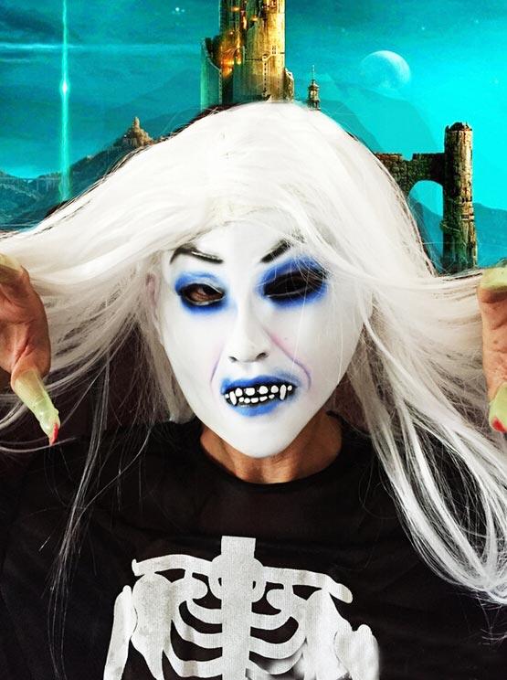 Halloween White Long Wigs Cosplay Horror фото