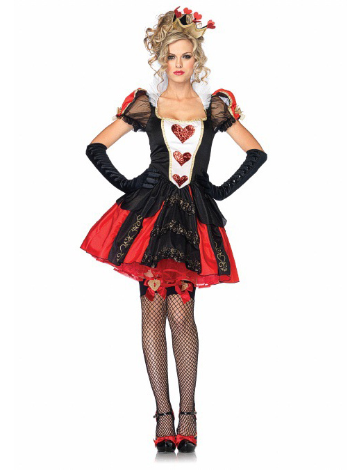 Sexy Ladies Adult Fairytale Queen Of Hearts Fancy Dress Costume Reading outfit Costume, Red