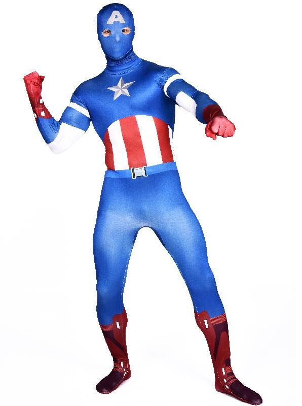 Blue Captain America Halloween Costume Superhero Zentai Full Body Suit For Men