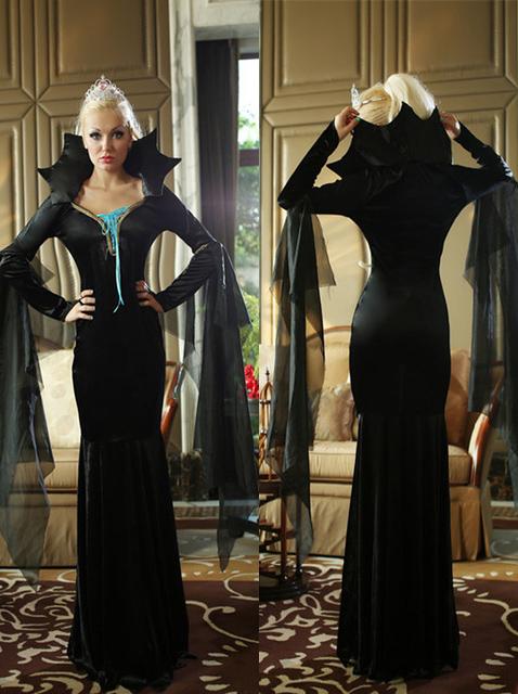 Deluxe Vampire Vampiress Costume Suit Black Long Dress Halloween Witch Queen Clothing for Women