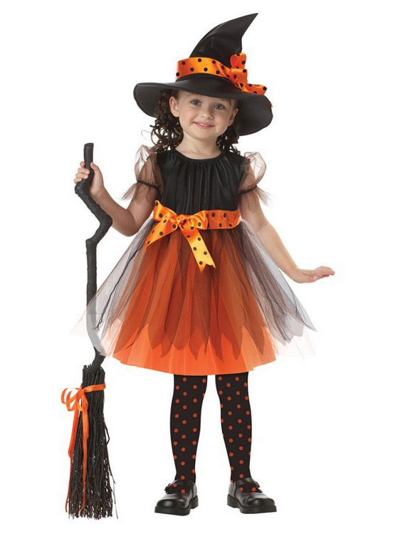 Halloween Kids Witch Dress Witch Costume Bow-knot Party Cosplay Performance Clothes For Girls, Black;orange
