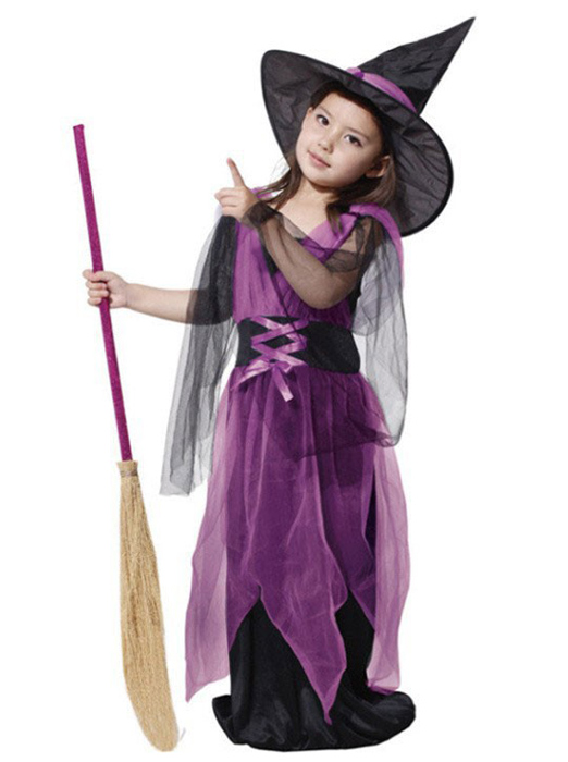 Halloween Costumes Girl Black Fly Witch Costume Dress and Hat Cap Party Cosplay Clothing, Black;purple