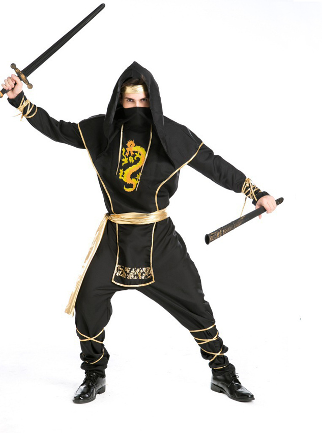 New Style Halloween Masked Pirate Custome For Men, Black