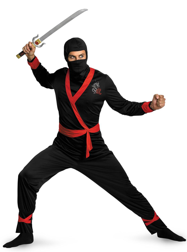 Ninja Master Adult Plus Halloween Costume With Masked For Men, Black