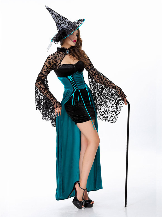 Sexy Halloween Witch Custome For Women With Hat, Black;blue
