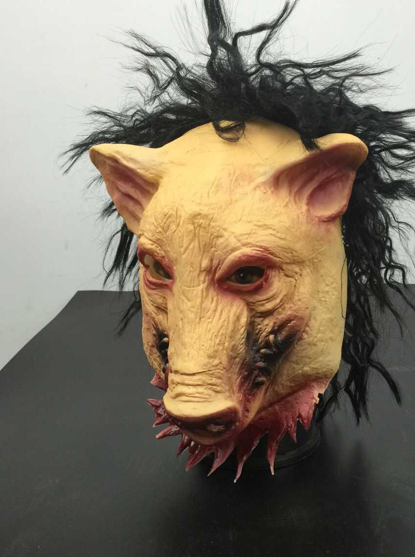 2015 New Saw 3 Pig Scary Rubby Pig Mask With Hair, Yellow