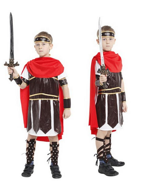 Roman Soldier Cosplay for Boys Halloween Carnival Cosplay Costumes, Red