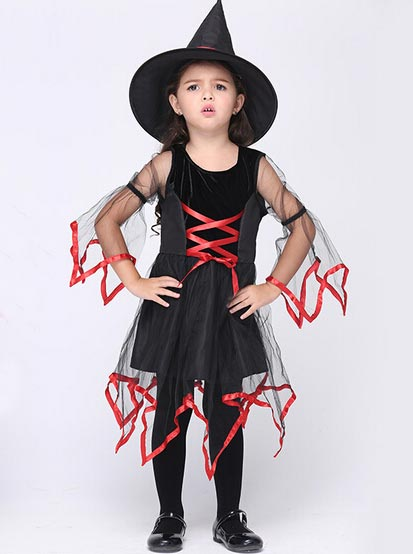 Carnival Costumes for Kids Halloween Witch Costumes Santos, Black