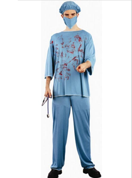 Men's Halloween Doctor Death Bloody Surgeon Scrubs Fancy, Blue