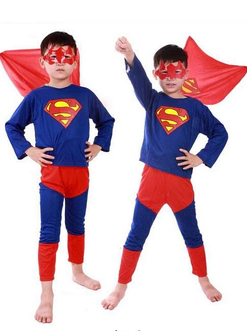Kids Boys Spider-Man Superman Halloween Costume Party Cosplay Suit, Red