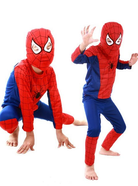 Super Hero Spiderman Kids Boys Party Fancy Dress Costume Outfit Mask, Red