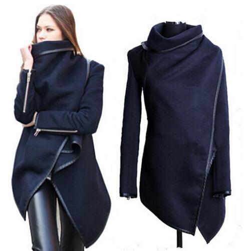 Sexy Women Loose Long Sleeve Fall Party Jacket Women's Overcoat, Navy blue