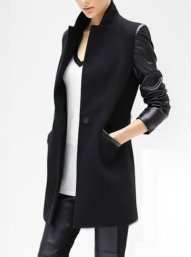 Fashion Stand Collar Patchwork Mid-length Black Overcoat, Black;ivory