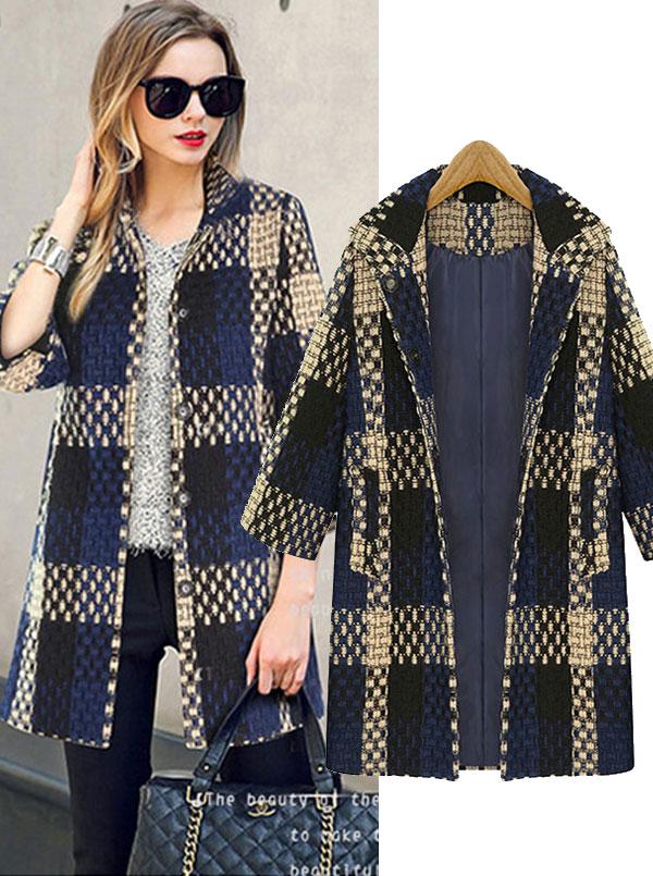 Modern Lapel Plaid Long Loose Women Overcoat, Navy blue