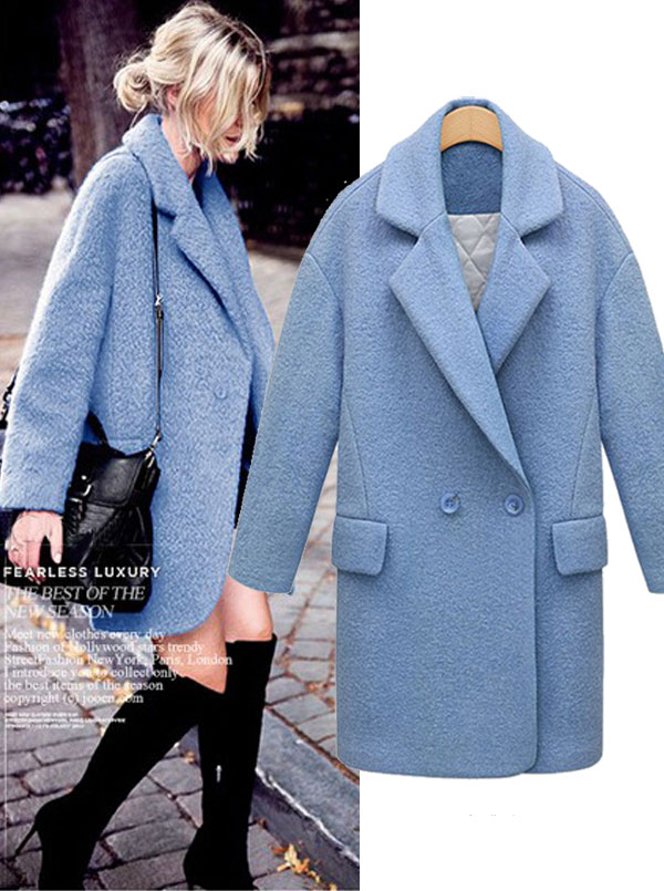 Women Lapel Long Sky Blue Long Overcoat With Pockets фото