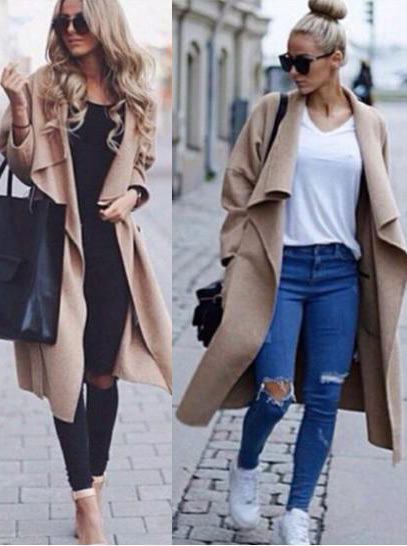 Hot Sale Trench Fashion Winter Woolen Bodycon Women's Coat, Beige