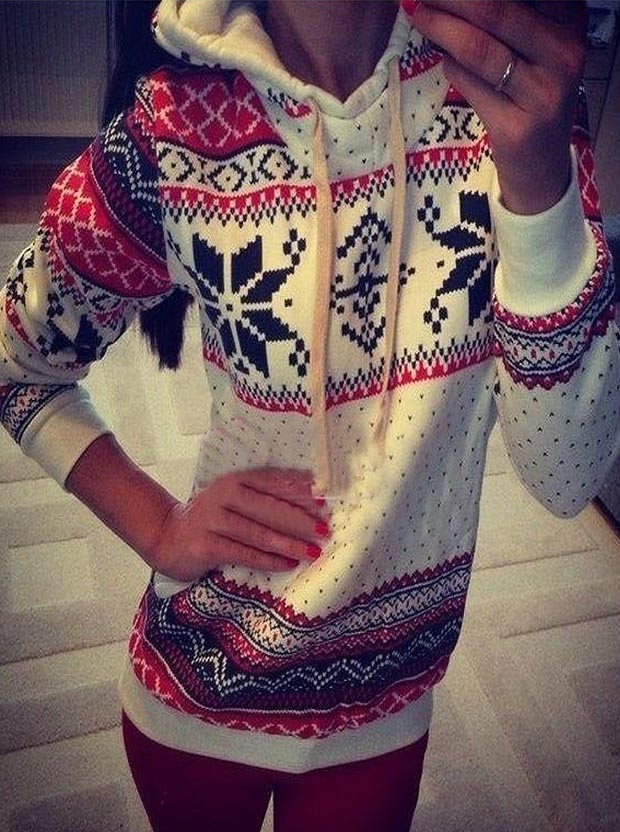 Casual Hooded Long Sleeves Mid-Length Print Christmas Hoodies For Women, Multi color