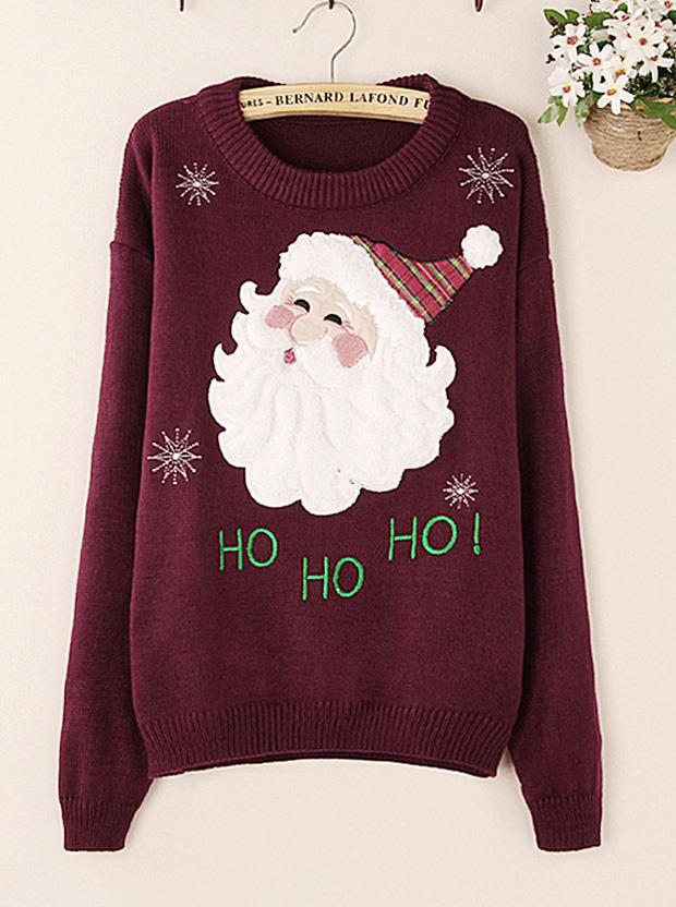 Casual Red Wine Snowflake Santa Claus Print Women Christmas Seaters, Black;burgundy;royal blue;white