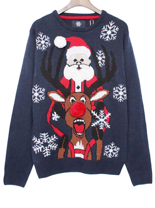 Casual Deer Santa Claus Sweater Pullover For Women фото