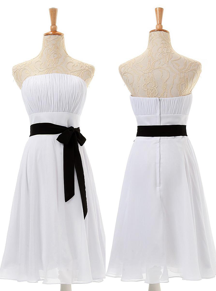 Cheap A-line Strapless Knee-Length Chiffon Bridesmaid Dresses CHDT100055