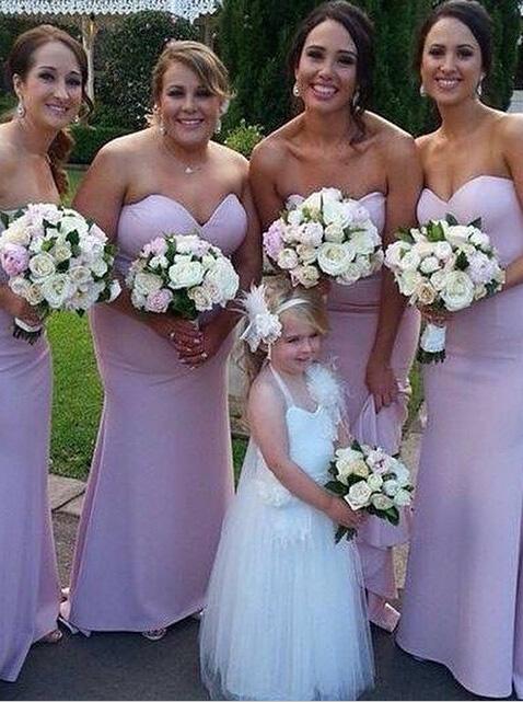 Elegant Sweetheart Satin Floor-length Mermaid Pink Bridesmaid Dresses SABD-71139